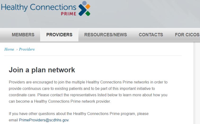 Prime screenshot on SCDHHS website
